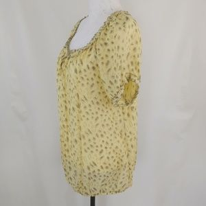 Cato Women's Plus Yellow and Tan Leopard Print Top